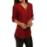 Sale-burgundy Zip Up Chiffon Top