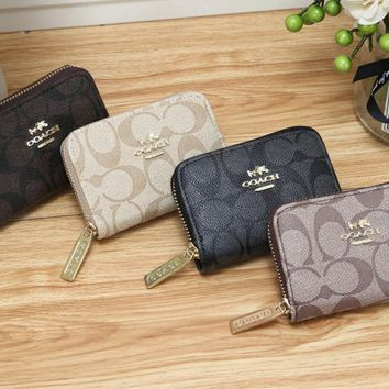 """COACH"" Classic Retro Fashion Multicolor Print Messenger Bag Women Small Square Bag Wallet"