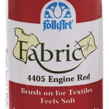 engine red folk art fabric brush-on paint - 2 oz.