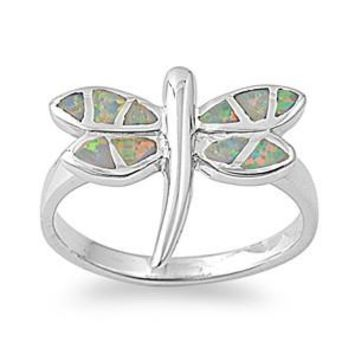 Sterling Silver Dragonfly 16MM White Lab Opal Ring