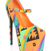 Orange Printed Maryjane High Heels Canvas