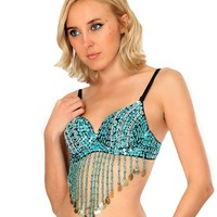 All Coined Out Tassel Rave Bra Top