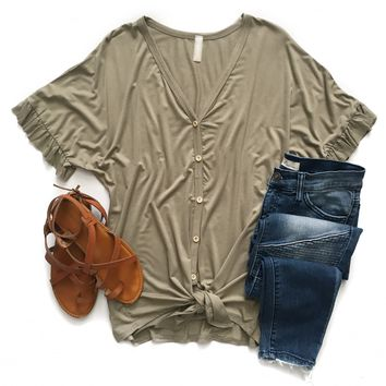 Sage Button Down Tie Top