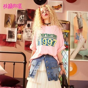 Tops and Tees T-Shirt ELF SACK Summer Wide Sleeve Half Women T Shirts Letter Prints Kpop Hip Hop Style Womens  Loose Hollow Out Korean  Tee AT_60_4 AT_60_4