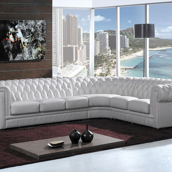 Divani Casa Paris 1R - Transitional Tufted Leather Sectional Sofa