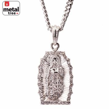 "Jewelry Kay style Men's Hip Hop 14K Gold Plated Mini Guadalupe 30"" Cuban Chain Pendant Necklace"