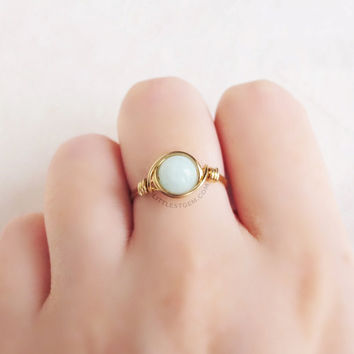 Mint Aqua Jade Ring - unique rings - wire wrapped ring - bohemian jewelry