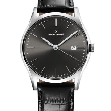 Claude Bernard 53003 3 NIN Men's Swiss Made Watch Classic Black Dial With Black Leather Strap