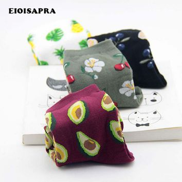 [EIOISAPRA]Print Fresh Fruits Socks Banana Lemon Avocado Cherry Blueberry Orange Gardenias Flamingos Plumerias Scoks Women