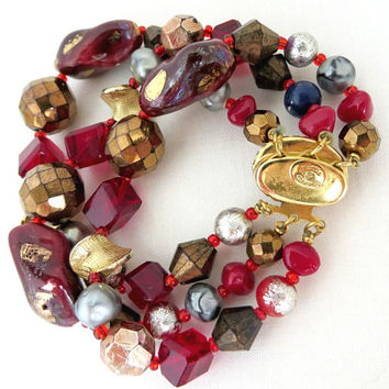 Hattie Carnegie Vintage Bracelet - Art Glass Triple Strand Beaded Designer Bracelet, Holiday Gift