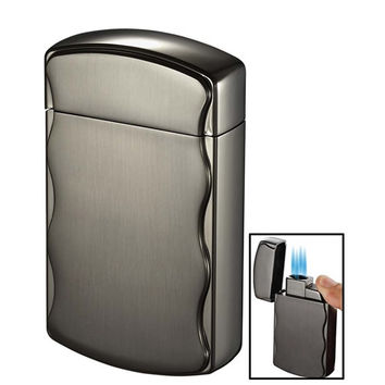 Visol Fireball T Brushed Gunmetal Quad Jet Table Cigar Lighter