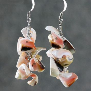 Chunky shell dangling chandelier earrings Bridesmaids gifts Free US Shipping handmade Anni Designs