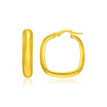 14K Yellow Gold Hoop Earrings with a Square Style
