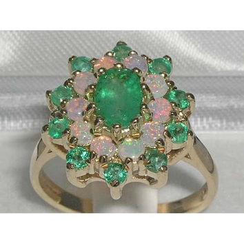 English 9K 9ct Yellow Gold Genuine Natural Emerald & Fiery Opal Cluster Ring - Made in England - Supplied in Your Finger Size