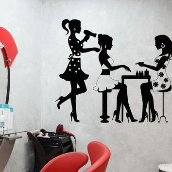 Vinyl Wall Decal Beauty Salon Hairdresser Manicure Nail Fashion Model Girl Stickers Unique Gift (688ig)