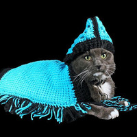 Pet Poncho for Cat, Dog, or Other Pet, Original Design, Rhinestone Flower Adornment