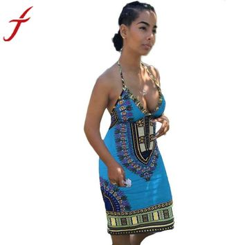 Women's Sleeveless African Print Casual  Backless Dress