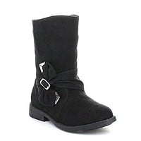 Toddler Girl's Maisy-800D Faux Suede Buckle Round Toe Boots