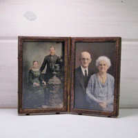 Antique Brass Bi Fold Picture Frame, Double Sided Photo Frame, Victorian Hinged Picture Frame 3 x 5