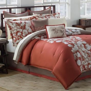 Knightsbridge Reversible Comforter Set in Cooper/Tan
