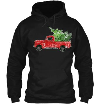 Vintage Christmas Classic Truck  with Snow and Tree Pullover Hoodie 8 oz