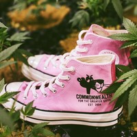 "PLEASURES & Commonwealth Link for a Pink Converse All Star 1970S Sneaker ""Pink"" 166782C"
