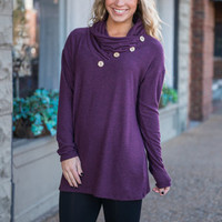 Button Top Of The World Top, Plum