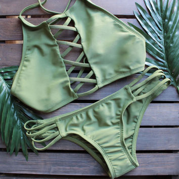 olive green high neck crop bikini set