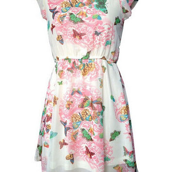 Butterfly Print Short Sleeve Princess Chiffon Mini Dress