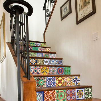 Staircase with Talavera Tiles Patterns- 48 Tile Stickers Designs - SKU:StairTalPat