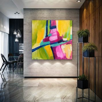 Original Textured Wall Art Large Abstract Painting Green Modern Oil Painting Canvas Art Oversize Artwork Wide Painting Abstract Art Painting