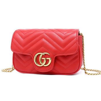 Gucci Trending Women Stylish Leather Metal Chain Crossbody Shoulder Bag Satchel Red I12102-1