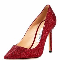 Jimmy Choo Romy 100mm Suede Pump with Crystals