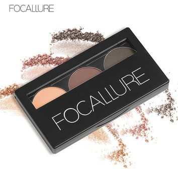 3 Color Waterproof Eye Shadow Eyebrow Powder Make Up Palette Women Beauty Cosmetic Eye Brow Makeup Kit Set  by Focallure