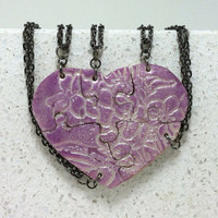 Heart Shaped Puzzle Necklaces Set of 5 Interlocking Necklaces African Violet Pattern Polymer Clay
