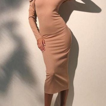 Khaki Off Shoulder Backless Long Sleeve Bodycon Prom Evening Party Maxi Dress