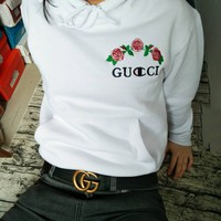 GUCCI : Champion flower rose print  sweater white hoodie pullover white