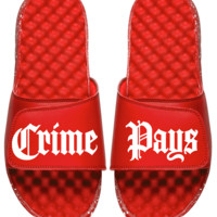 Crime Pays Unisex Slides Red Speckle