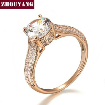 ZHOUYANG Top Quality Classic Crystal Ring Rose Gold Color Wedding Ring Austrian Crystals Full Sizes Wholesale