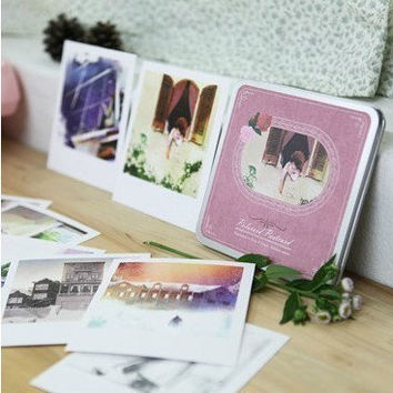 Korea DIY decoden Cards Set in tin box - painting illustrated polaroid