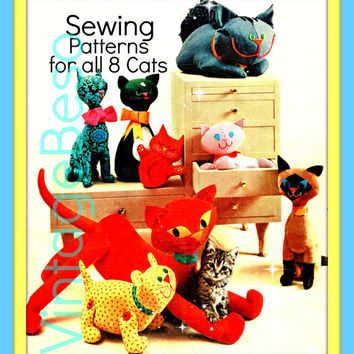 SEWING PATTERNS 1960s Vintage Sewing Pattern in PDF for 8 Stuffed Toy Cats to meow meow lovingly as gifts or for your own pet friendly home