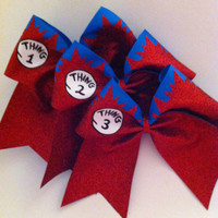 3in. Things 1 2 & 3 Glitter Cheerbow Set