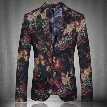 Luxury Brand New Fashion Mens Lapel Slim Fit Floral Formal Dress Two Buttons Coats Blazers Flower Casual Jackets Chaqueta Size