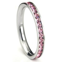 316L Stainless Steel Pink Cubic Zirconia CZ Eternity Wedding 3MM Band Ring Sz 11
