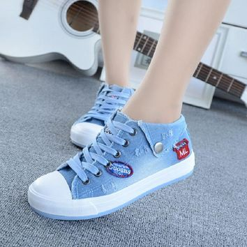 Shoes Women 2017 Sping Autumn Denim Casual Shoes Lace-Up Women's Fashion Flats High To