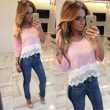 Winter Hot Sale Lace Patchwork Three-quarter Sleeve T-shirts Women's Fashion Bottoming Shirt [4956168836]