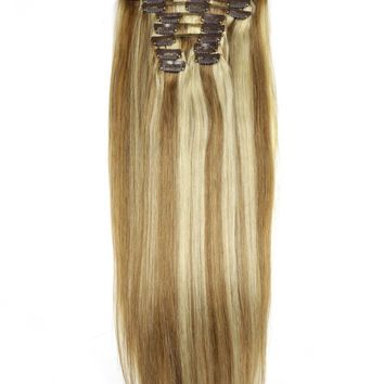 """ZZHAIR 180g 16""""-28"""" Remy Hair 10 piece Set 20 Clips-in Human Hair Extensions 22 Colors Full Head Set Natural Straight Hair"""