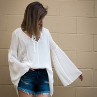 Light Bell Sleeve Top