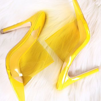 Pointed Open Toe Patent Wide Band Stiletto Mule Heel