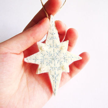 Christmas ornament, felt snow flake ornament, Christmas Tree decoration, felt wall hanging, embroidered ornament
